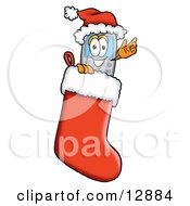 Wireless Cellular Telephone Mascot Cartoon Character Wearing A Santa Hat Inside A Red Christmas Stocking
