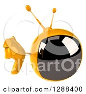 Clipart Of A 3d Retro Yellow TV Character Holding Up A Thumb Down Royalty Free Illustration by Julos