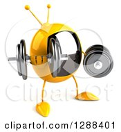 Clipart Of A 3d Retro Yellow TV Character Facing Slightly Right And Working Out With Dumbbells Royalty Free Illustration by Julos