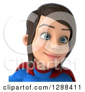 Clipart Of A 3d Avatar Of A Young Brunette White Female Super Hero In A Blue And Red Suit From The Shoulders Up 2 Royalty Free Illustration