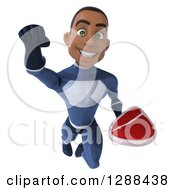 Clipart Of A 3d Young Black Male Super Hero Dark Blue Suit Flying With A Beef Steak Royalty Free Illustration