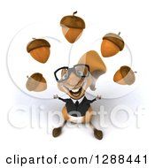 Clipart Of A 3d Bespectacled Business Squirrel Looking Up And Juggling Acorns Royalty Free Illustration