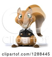 Clipart Of A 3d Business Squirrel Smiling Royalty Free Illustration