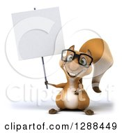 Clipart Of A 3d Bespectacled Squirrel Character Holding Up A Blank Sign Royalty Free Illustration