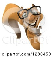 Clipart Of A 3d Bespectacled Squirrel Character Looking Around A Sign Royalty Free Illustration