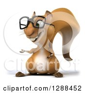 Clipart Of A 3d Bespectacled Squirrel Presenting To The Left Royalty Free Illustration