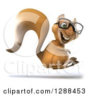 Clipart Of A 3d Bespectacled Squirrel Facing Right And Jumping Royalty Free Illustration