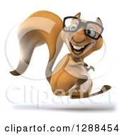 Clipart Of A 3d Bespectacled Squirrel Facing Right And Hopping Royalty Free Illustration
