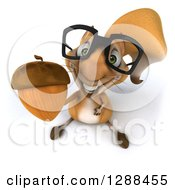 Clipart Of A 3d Bespectacled Squirrel Looking Up And Holding An Acorn Royalty Free Illustration