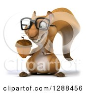 Clipart Of A 3d Bespectacled Squirrel Holding And Pointing To An Acorn Royalty Free Illustration