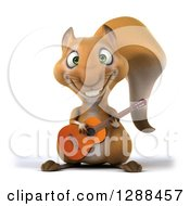 Clipart Of A 3d Squirrel Playing An Acoustic Guitar Royalty Free Illustration