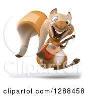 Clipart Of A 3d Squirrel Jumping And Playing An Acoustic Guitar Royalty Free Illustration