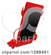 Clipart Of A 3d Devil Smart Phone Character Facing Right And Pouting Royalty Free Illustration