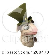 Clipart Of A 3d Irish Sheep Looking Around A Sign Royalty Free Illustration