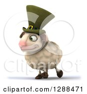 Clipart Of A 3d Irish Sheep Walking To The Left Royalty Free Illustration