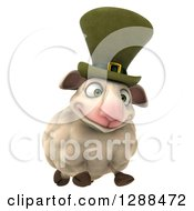 Clipart Of A 3d Irish Sheep Running Slightly To The Right Royalty Free Illustration
