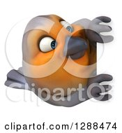 Clipart Of A 3d Red Robin Bird Around A Sign Royalty Free Illustration