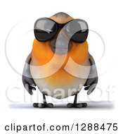 Clipart Of A 3d Red Robin Bird Wearing Dark Sunglasses Royalty Free Illustration