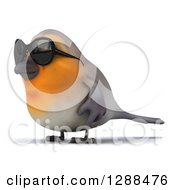 Clipart Of A 3d Red Robin Bird Wearing Sunglasses And Facing Left Royalty Free Illustration