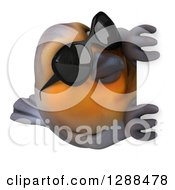 Clipart Of A 3d Red Robin Bird Wearing Sunglasses Around A Sign Royalty Free Illustration