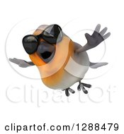 Clipart Of A 3d Red Robin Bird Wearing Sunglasses And Flying Slightly Left Royalty Free Illustration by Julos