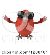 Clipart Of A 3d Red Bird Wearing Sunglasses And Flying Forward Royalty Free Illustration