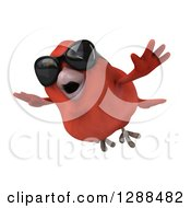 Clipart Of A 3d Red Bird Wearing Sunglasses And Flying Slightly Left Royalty Free Illustration