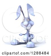 Clipart Of A 3d Blue Bunny Rabbit Presenting To The Left Royalty Free Illustration by Julos