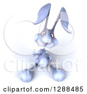 Clipart Of A 3d Blue Bunny Rabbit Holding Up A Thumb Royalty Free Illustration by Julos