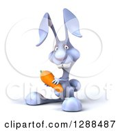 Clipart Of A 3d Blue Bunny Rabbit Holding A Carrot Royalty Free Illustration by Julos