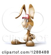 Clipart Of A 3d Brown Bunny Rabbit Wearing A Baseball Cap And Facing Left Royalty Free Illustration by Julos