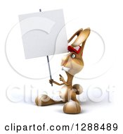 Clipart Of A 3d Brown Bunny Rabbit Wearing A Baseball Cap Holding And Pointing To A Blank Sign And Facing Left Royalty Free Illustration by Julos