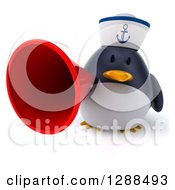 Clipart Of A 3d Sailor Penguin Holding A Megaphone Royalty Free Illustration by Julos