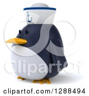 Clipart Of A 3d Sailor Penguin Facing Left Royalty Free Illustration by Julos