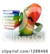 Clipart Of A 3d Green Macaw Parrot Gesturing And Holding A Stack Of Books Royalty Free Illustration
