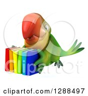 Clipart Of A 3d Green Macaw Parrot Flying Slightly Left With Colorful Books Royalty Free Illustration