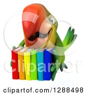 Clipart Of A 3d Green Macaw Parrot Flying With Colorful Books Royalty Free Illustration