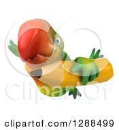 Clipart Of A 3d Green Macaw Parrot Flying To The Left With A Pencil Royalty Free Illustration