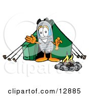 Wireless Cellular Telephone Mascot Cartoon Character Camping With A Tent And Fire
