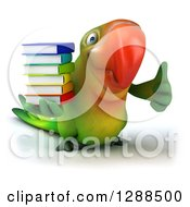 Clipart Of A 3d Green Macaw Parrot Holding A Stack Of Books And Giving A Thumb Up Royalty Free Illustration