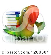 Clipart Of A 3d Green Macaw Parrot Holding A Stack Of Books And Giving A Thumb Down Royalty Free Illustration