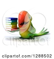 Clipart Of A 3d Green Macaw Parrot Holding A Stack Of Books Royalty Free Illustration