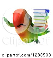 Clipart Of A 3d Green Macaw Parrot Flying And Holding A Stack Of Books Royalty Free Illustration