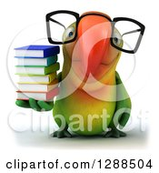 Clipart Of A 3d Bespectacled Green Macaw Parrot Holding A Stack Of Books Royalty Free Illustration