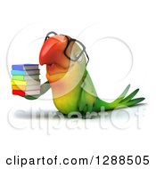Clipart Of A 3d Bespectacled Green Macaw Parrot Facing Left And Holding A Stack Of Books Royalty Free Illustration