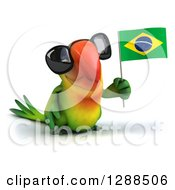 Clipart Of A 3d Green Macaw Parrot Wearing Sunglasses And Holding A Brazil Flag Royalty Free Illustration