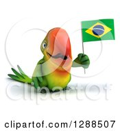 Clipart Of A 3d Green Macaw Parrot Holding A Brazil Flag Royalty Free Illustration