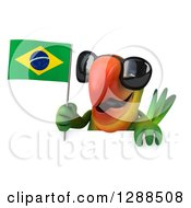Clipart Of A 3d Green Macaw Parrot Wearing Sunglasses And Holding A Brazil Flag Over A Sign Royalty Free Illustration