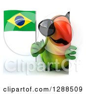 Clipart Of A 3d Green Macaw Parrot Wearing Sunglasses And Holding A Brazil Flag Around A Sign Royalty Free Illustration
