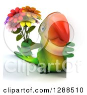 Clipart Of A 3d Green Macaw Parrot Holding A Bouquet Of Flowers Around A Sign Royalty Free Illustration